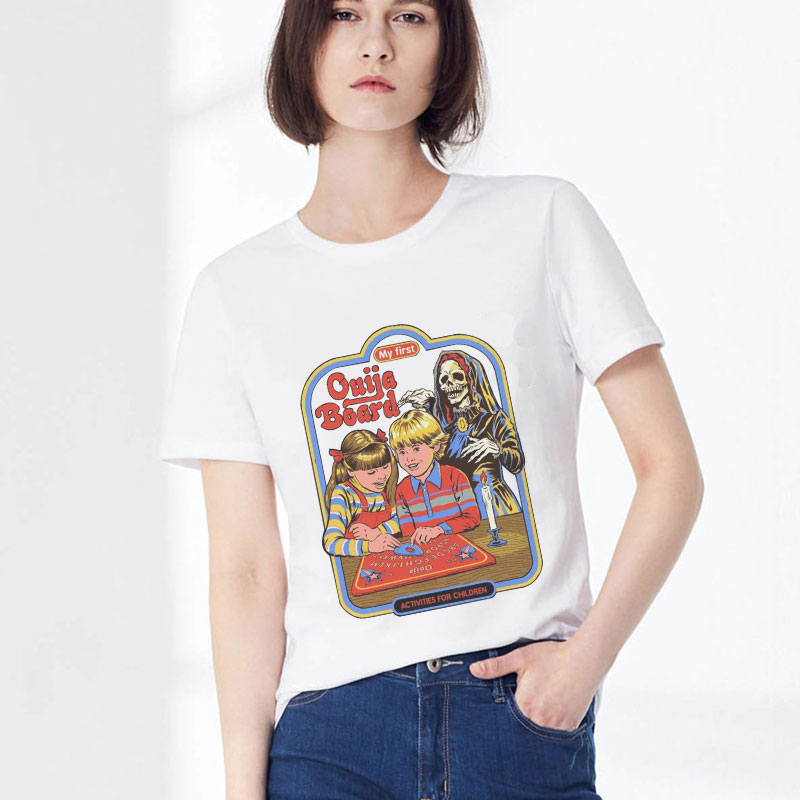 2019 Summer Aesthetic Pulp Fiction Holographic White T Shirt Kawaii Clothes Chic Funny T Shirts Women Tumblr Polera Mujer Футболка