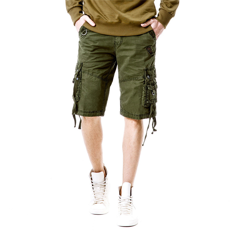 MORUANCLE Mens Casual Cargo Shorts Military Style Tactical Bermuda For Male Straight Work Short Pants Multi Pockets Size 29-40