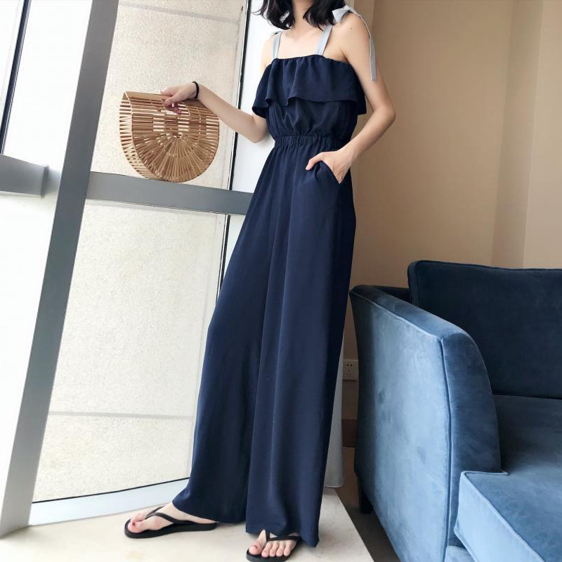 TWOTWINSTYLE Lace Up Jumpsuits Womens Off Shoulder Ruffles Tunic High Waist Maxi Wide Leg Pants Summer Fashion Holiday Clothing 3