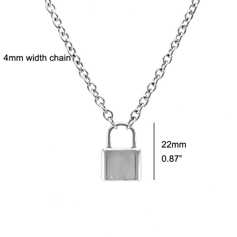 Stainless Steel Silver Color PadLock Pendant Necklace Brand New Rolo Cable Chain Necklace collar ras du cou collier femme women