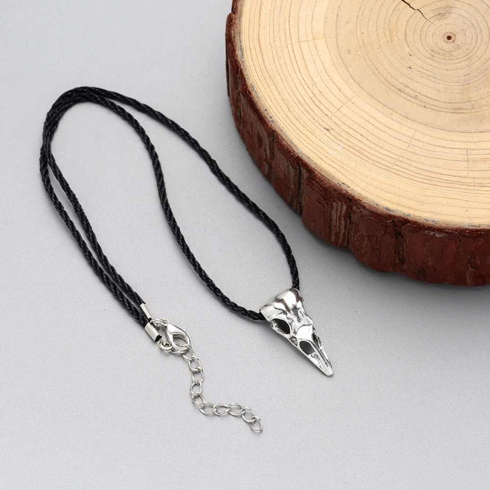 Kinitial винтажный череп Чокеры ожерелье s 3D животное Птица Череп Кулон ожерелье Бронзовый Серебристый ювелирные изделия в стиле викингов для мужчин Bijoux