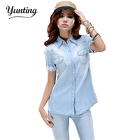 Ladies Jean Shirts European Style Denim Blouses Women Short Sleeve Turn Down Collar Loose Female Blusas