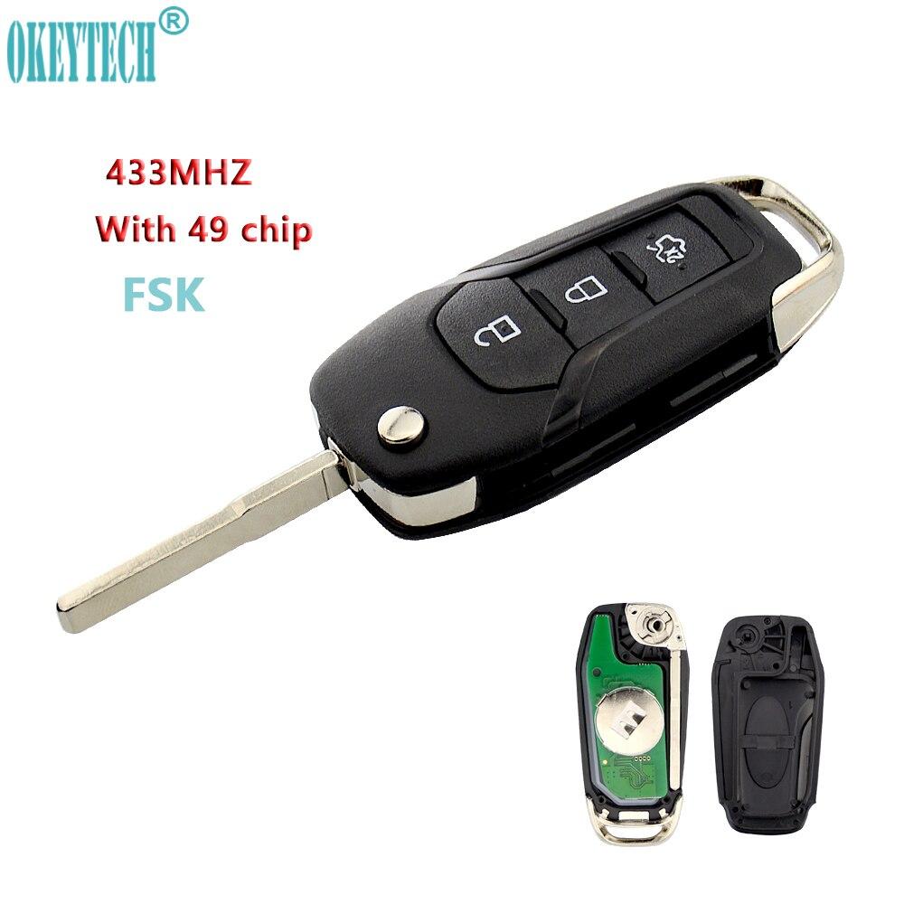 Nouveau style OkeyTech pour Ford FSK 433 MHz avec 49 puce 3 boutons de remplacement clé à distance pliante pour Ford Focus Mondeo Escort