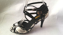 Wholesale Women White Snakeskin Print Ballroom Dancing Shoes Latin SALSA Shoes Tango Dance ShoesAll Size