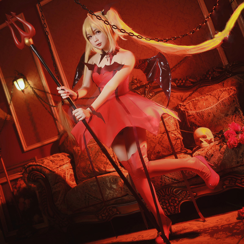 UWOWO Shugo Chara Iru Amulet Devil Anime Cosplay Costume Women Red Devil Anime Cosplay Costume Halloween