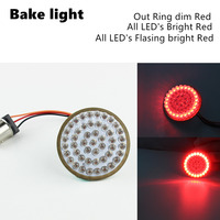 A Pair 12 V 50mm Motorcycle 1157 Turn Signal LED Inserts 2 Bullet Style Red For Dyna 12 17 For Tri Glide 14 15 16