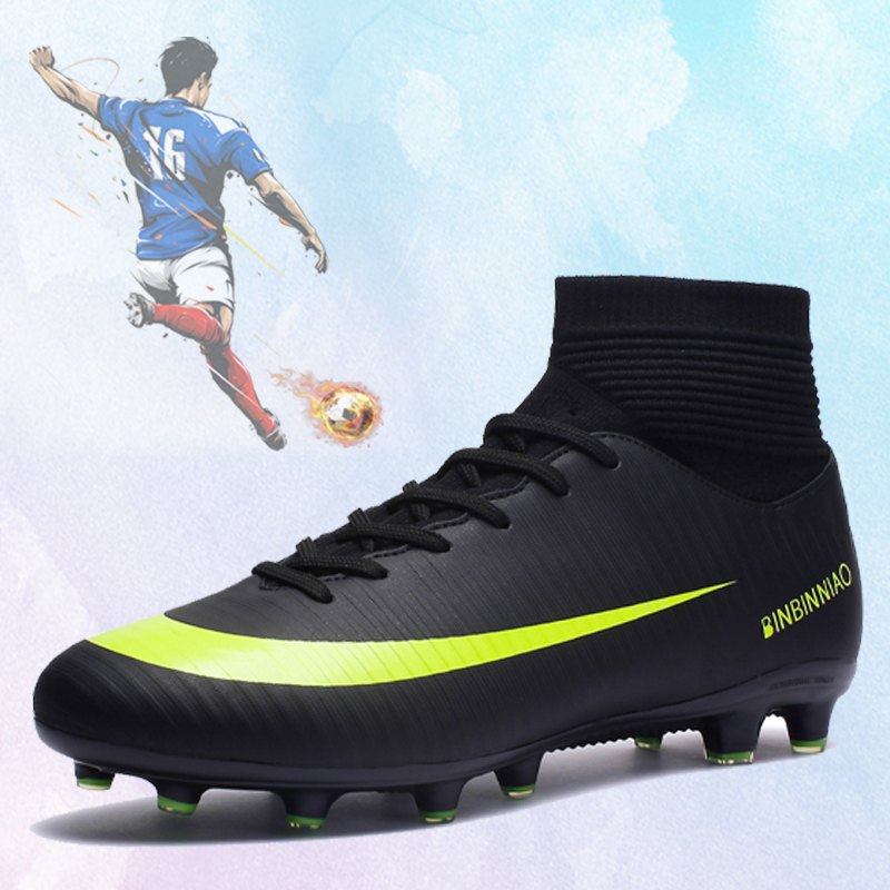 Soccer Shoes Men Football Cleats Futsal Soccer Boots Teenager Ankle High Tops Football Shoes Kids Indoor Soccer Training Sneaker(China)