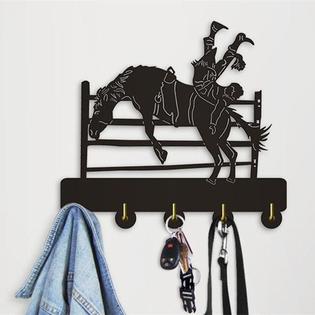 1Piece Modern Wall Art Decoration Coat Hooks Hanger Bucking Cowboy ...