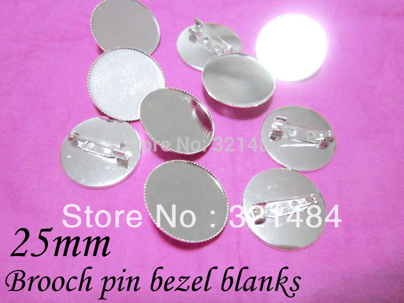 Silver plated metal safety pin brooch bezel blanks, brooch base 25mm cameo setting Nickel free and lead free