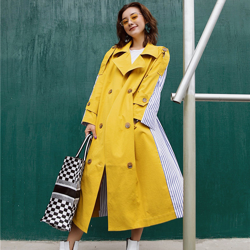 TREND-Setter 2019 Spring Fashion Yellow   Trench   Coat Women Long Sleeve Casual Loose Striped Outwear