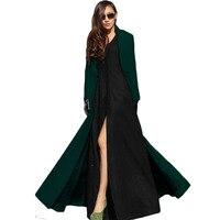 2017 נשים אירופאיות ואמריקניות Feminino סתיו חורף צמר מקסי ארוך נשי תעלת מעיל הלבשה עליונה גלימת פאטאל Manteau XH778