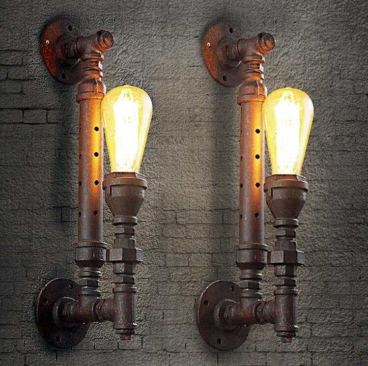 American Country Loft Creative Style Rust Iron Retro Wall Lamp Restaurant Light Bars Light Cafe Light H440MM Free Shipping loft american country to do the old style wrought iron wall shelf bookcase shelf retro industrial rust proof pipes z36