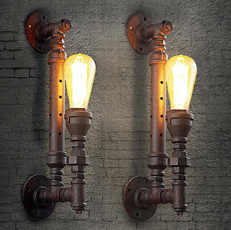 American Country Loft Creative Style Rust Iron Retro Wall Lamp Restaurant Light Bars Light Cafe Light H440MM Free Shipping loft creative concise retro style wood rope pendant light cafe restaurant decoration light free shipping
