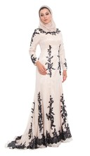 Custom Made Plus Size Muslim Mermaid Evening Dress with Hijab Long Sleeves High Neck Black Lace Applique Formal Dresses 2015
