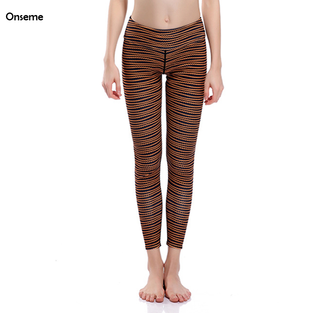 Women Wave Lines Leggings Slimming Sexy Hip Legging Breathable Quick-drying Leggins Fitness Workout Trousers Vintage CJO-524