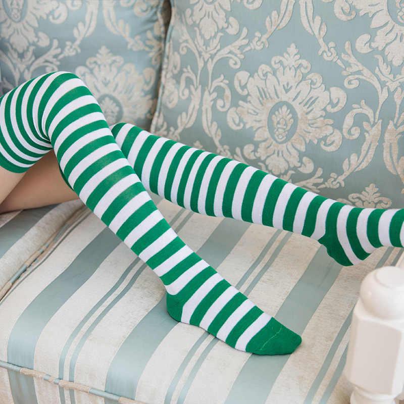 Satış Nefes 1 Çift Polyester Moda Şerit Güzellik Tayt Çorap Renkli diz-yüksek Kadın Tatlı Sevimli Kız Çorap