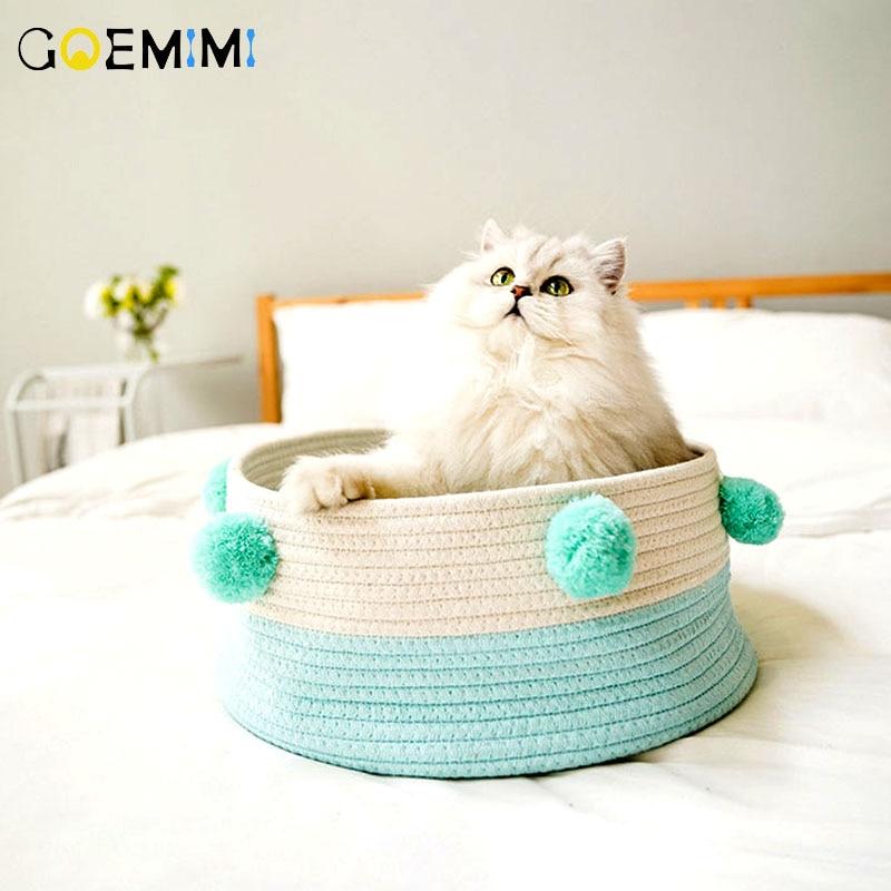 Hand Knit Cat Basket Sleeping Bag Plush ball Design Cat Beds Cute Cat Soft Round Bed Warm Pet House Kennel