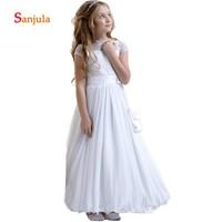 White Lace Cap Sleeve Flower Girls Dresses A Line Long Wedding Party Dress for Children Chiffon Skirt Christams Party Dress D168