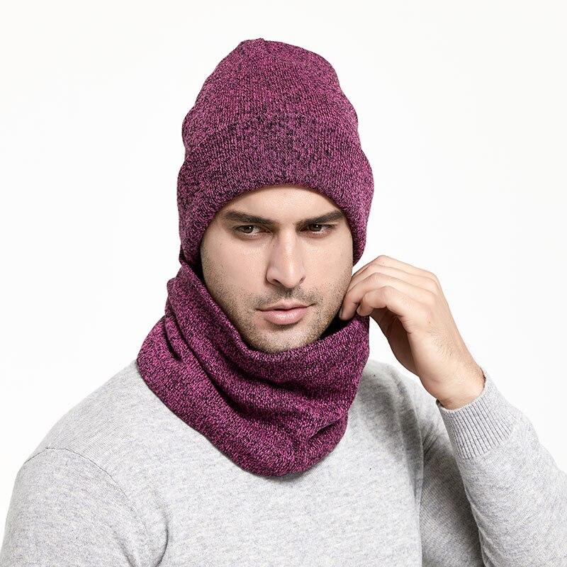 Зимний мужской набор шапки и шарфа, сохраняющая тепло, толстая вязаная шапка s, зимние аксессуары, Мужская шапочка, шарф, осенняя утолщенная шапка - Цвет: Purple
