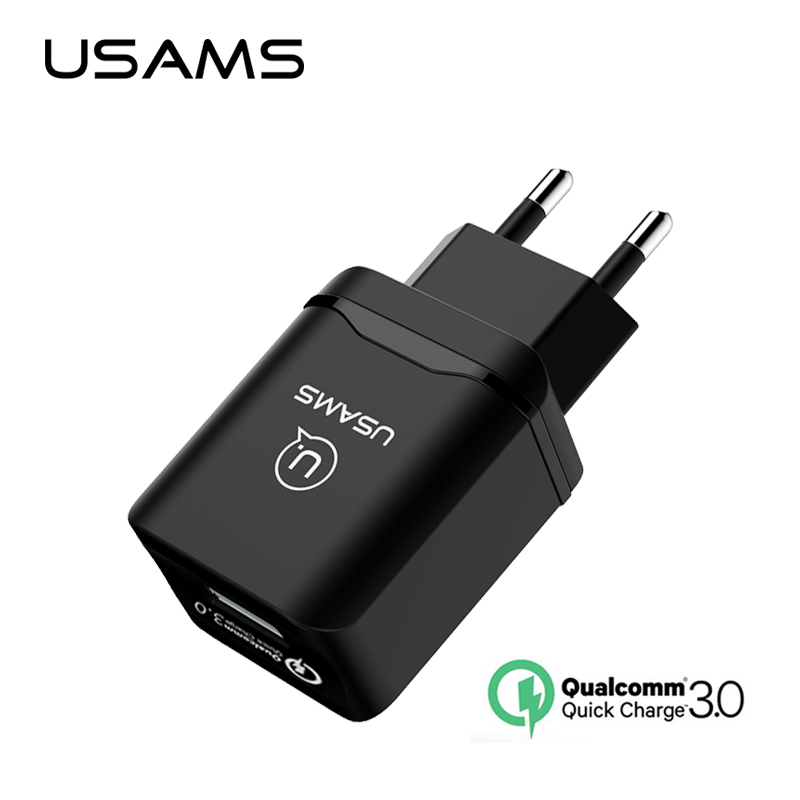 USAMS Universal Phone Charger fast Charger QC 3.0 EU Fast USB Charger QC 2.0 charger for Samsung s8 Xiaomi 5