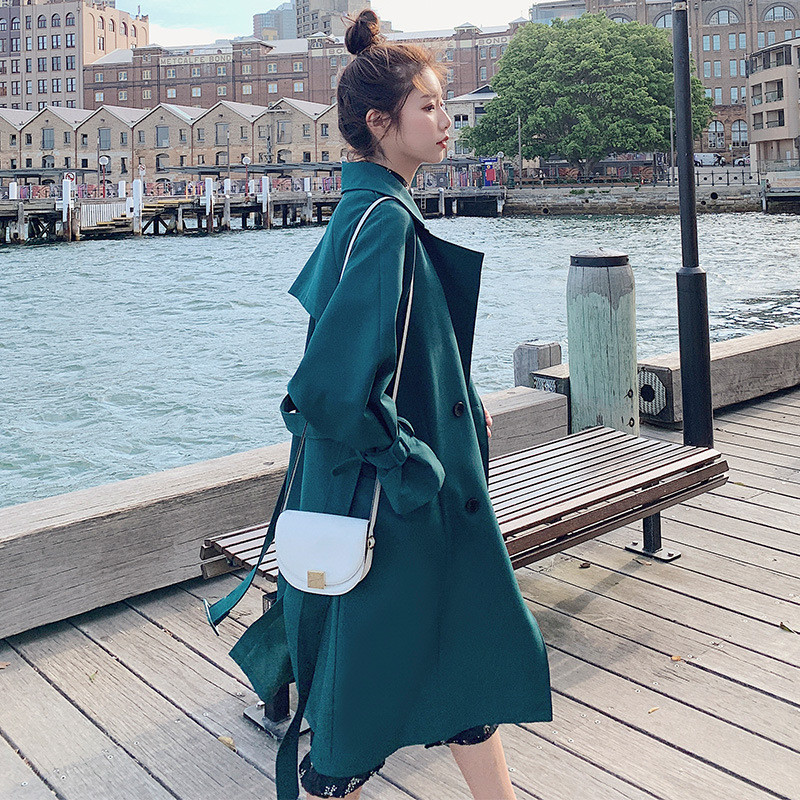 2019 fashion   Trench   Coat Spring Autumn Women's Coats korean long sleeve chic   trench   female Windbreaker Overcoat V616