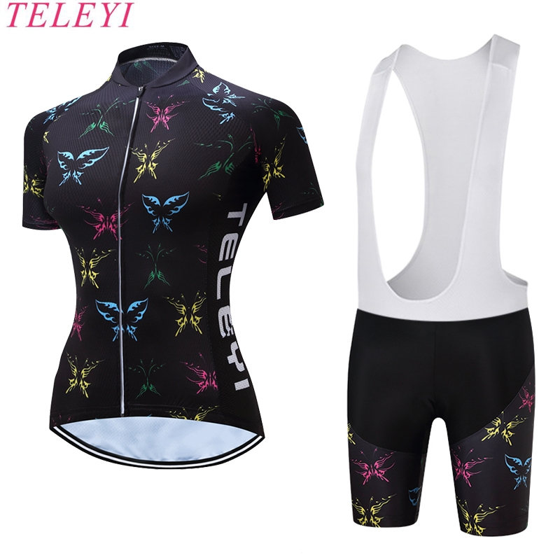 2017 NEW Women Bicycle Clothing Sets Print Cycling Shorts Female Short Sleeve Breathable Quick Dry Outdoor Sportswear