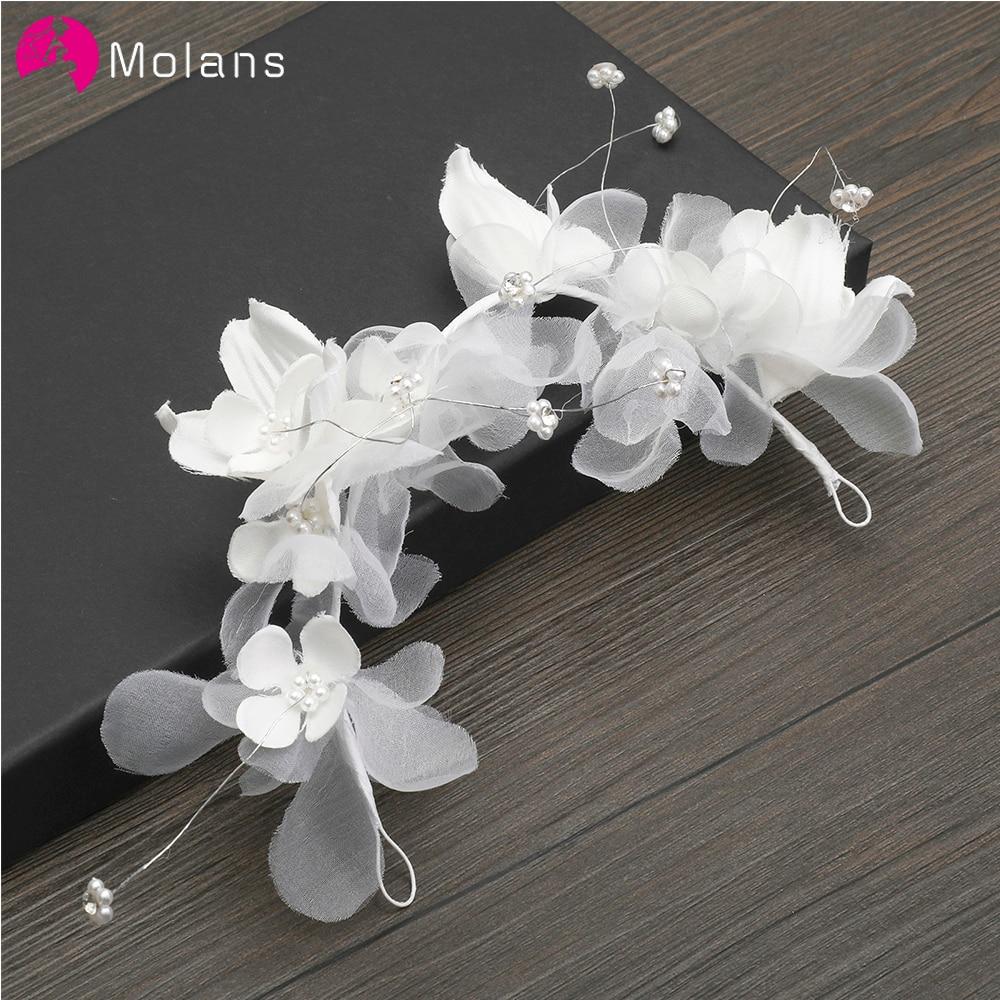 MOLANS Stimulation Flower Elegant Headband Pearl Floral Yarn Headbands For Bride Wedding Accessories Alloy Band Flower Headpiece