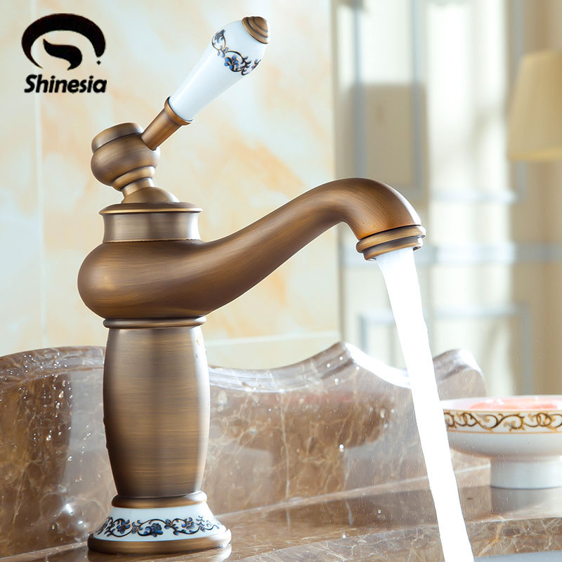 Free Shipping Antique Brass Ceramic Handle Bathroom Basin Sink Faucet Countertop Mixer Tap with Hot and Cold Water free shipping toilet tap bathroom faucet gold plated ceramic handle basin tap sink faucet brass tap with hot