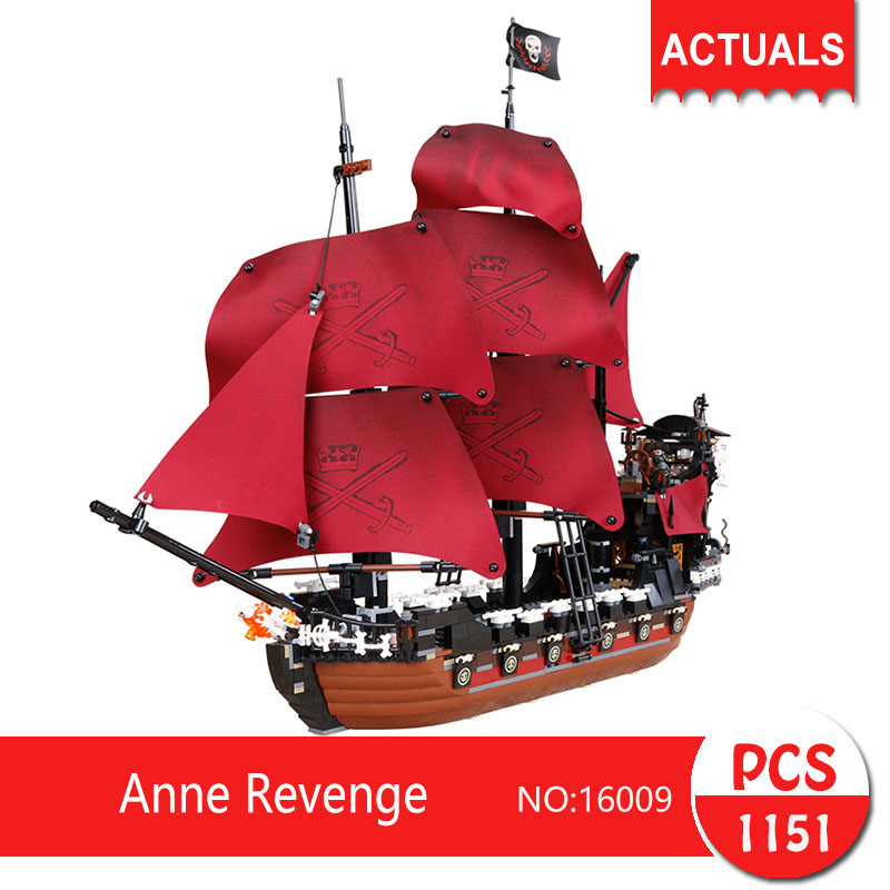 Lepin 16009 1151Pcs Movie Series Anne Revenge  Model Building Blocks Set  Bricks Toys For Children Pirate Caribbean Gift lepin 22001 pirate ship imperial warships model building block briks toys gift 1717pcs compatible legoed 10210