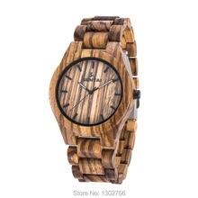 Venta caliente BEWELL Amigable Cebra Sandalia De Madera Del Reloj de Japón Movimiento de Cuarzo Reloj Para Unisex Hombres Relojes de Regalo De Madera Natural