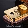 Huawei honor 5X caso do Metal alumínio + chapeamento espelho tampa traseira acessórios híbrido de luxo caso a proteção integral para Huawei 5X