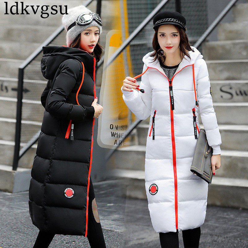 2019 Fashion Winter Jacket Long Warm Parkas Women Cotton Coat Long Sleeve Hooded Solid Color Women