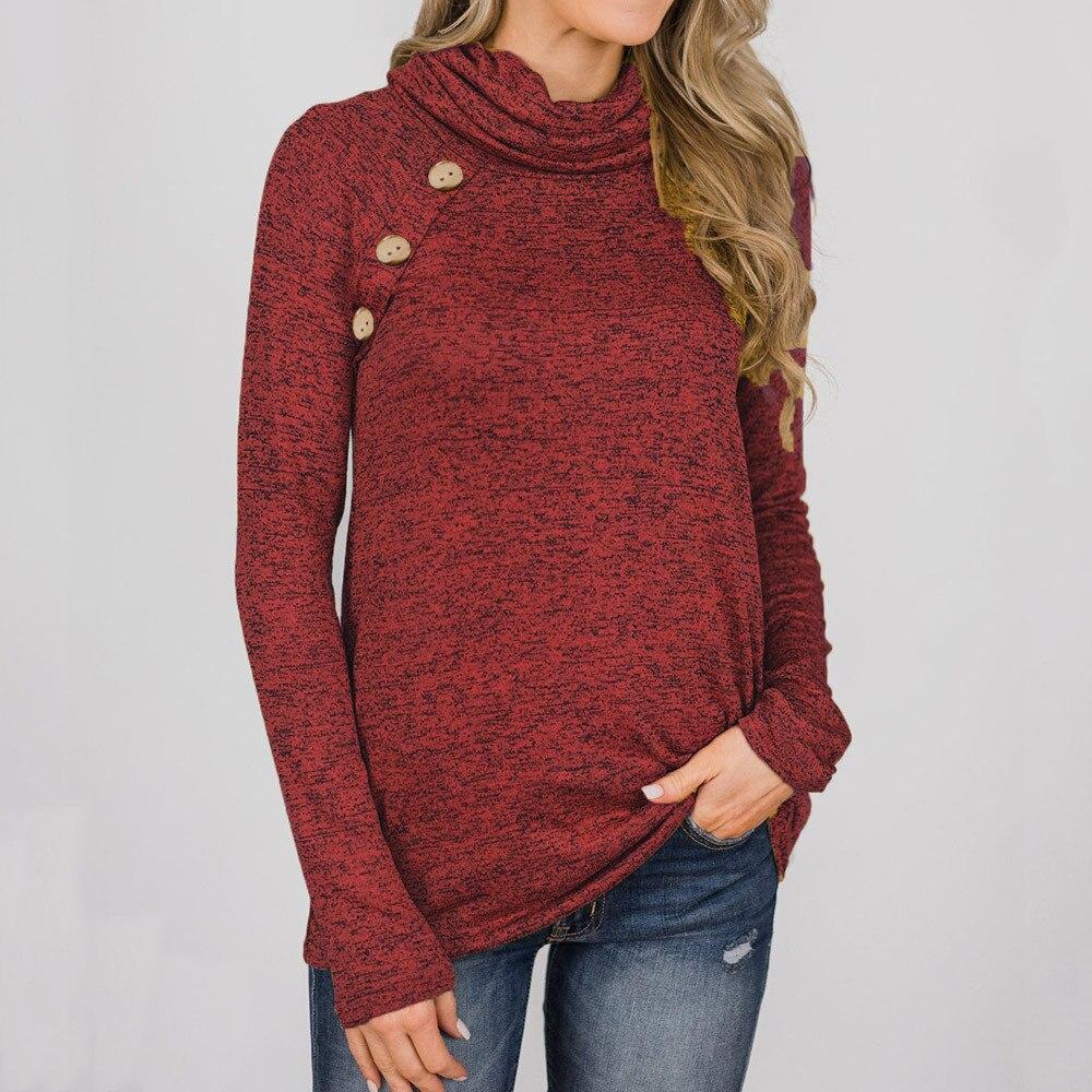 Women Button Long Sleeve Hoody Sweatshirt Ladies Casual Hoodies Top Sweatshirt