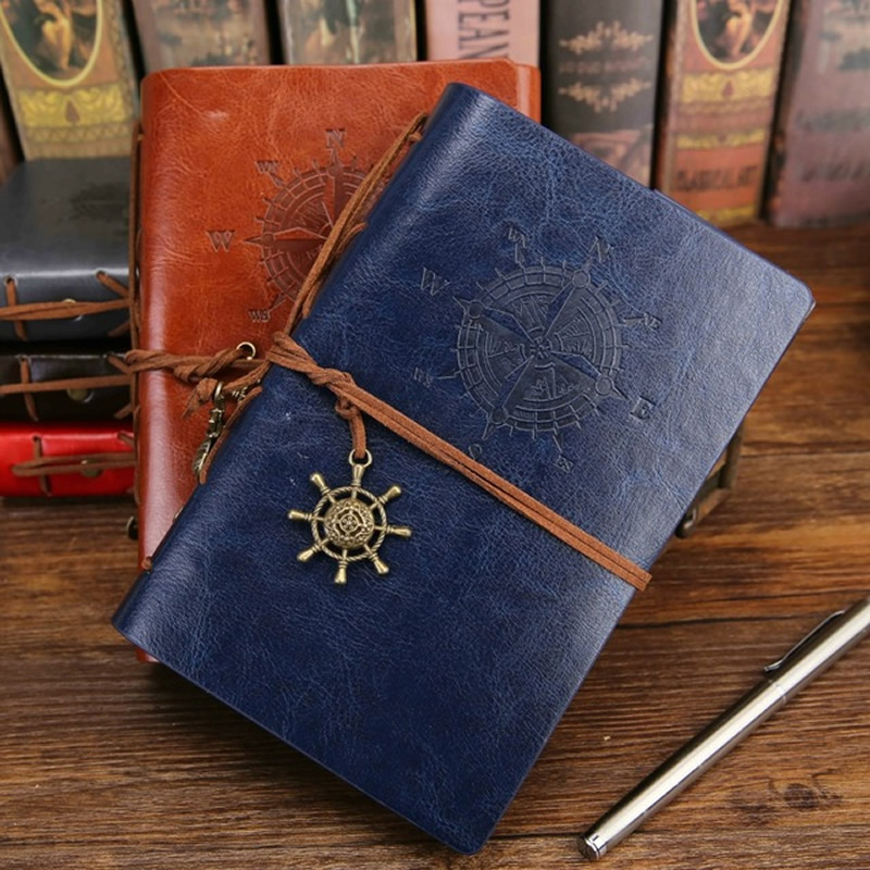 2019 Spiral <font><b>Notebook</b></font> Diary Notepad Vintage Pirate Anchors PU Leather Note Book Replaceable Stationery Gift <font><b>Traveler</b></font> <font><b>Journal</b></font> image