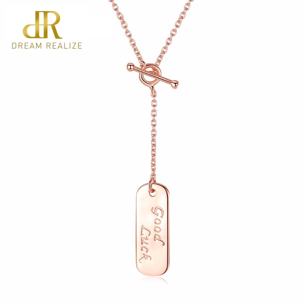 Delicious Dr Cute Gold Plate 100% 925 Sterling Silver Pendant Necklaces Women Jewelry Mirror Polish Punk Style Plate Chain Necklace Latest Technology