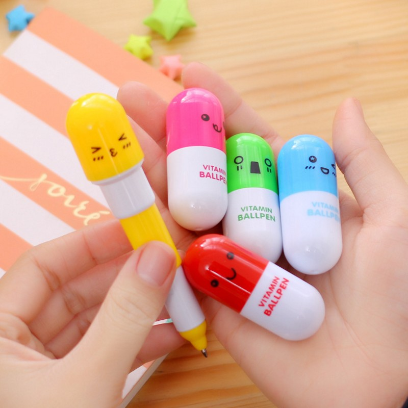 Ballpoint Pens 6pcs Cute Smiling Face Pill Ball Point Pen Novelty Stationery Telescopic Vitamin Capsule Ballpen For School Use Without Return Office & School Supplies