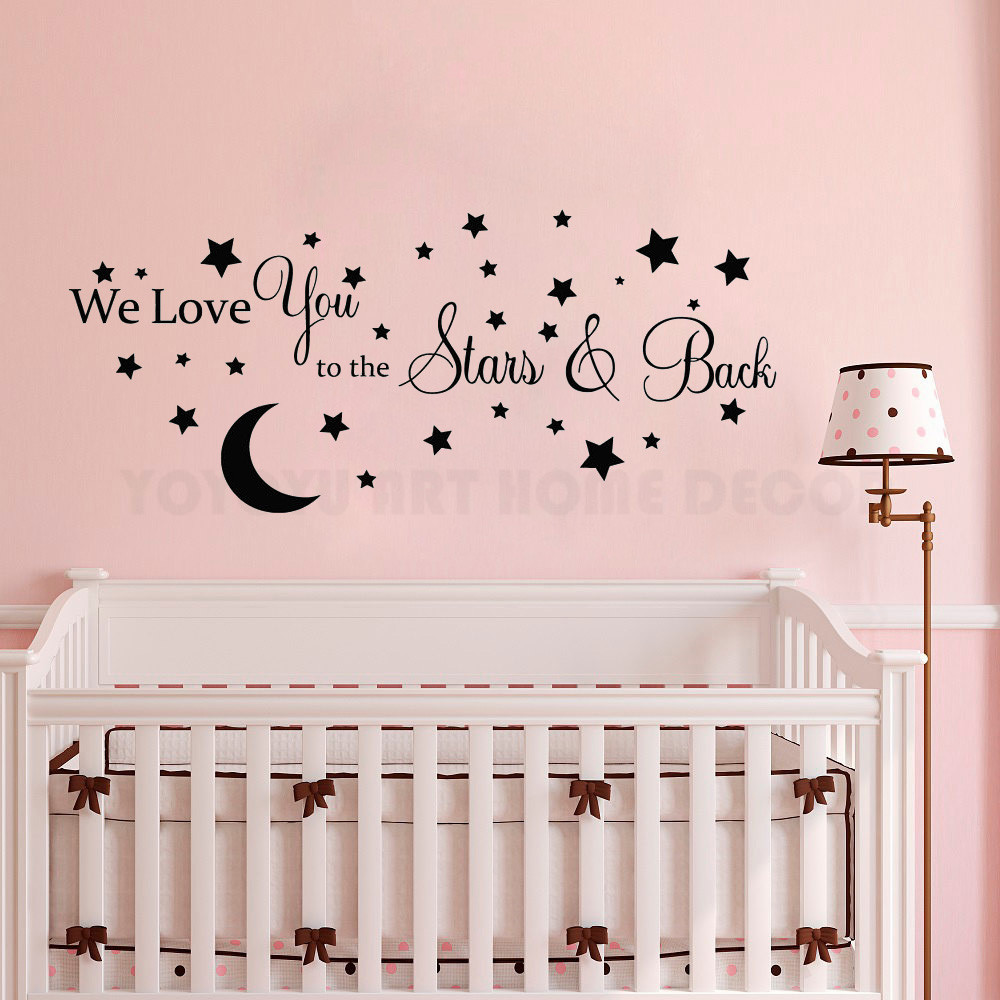 Us 2 72 30 Off Moon And Stars Vinyl Wall Sticker Kids Boys Baby Bedroom Art Decal Removable Nursery Room Decor Mural Ay1173 In