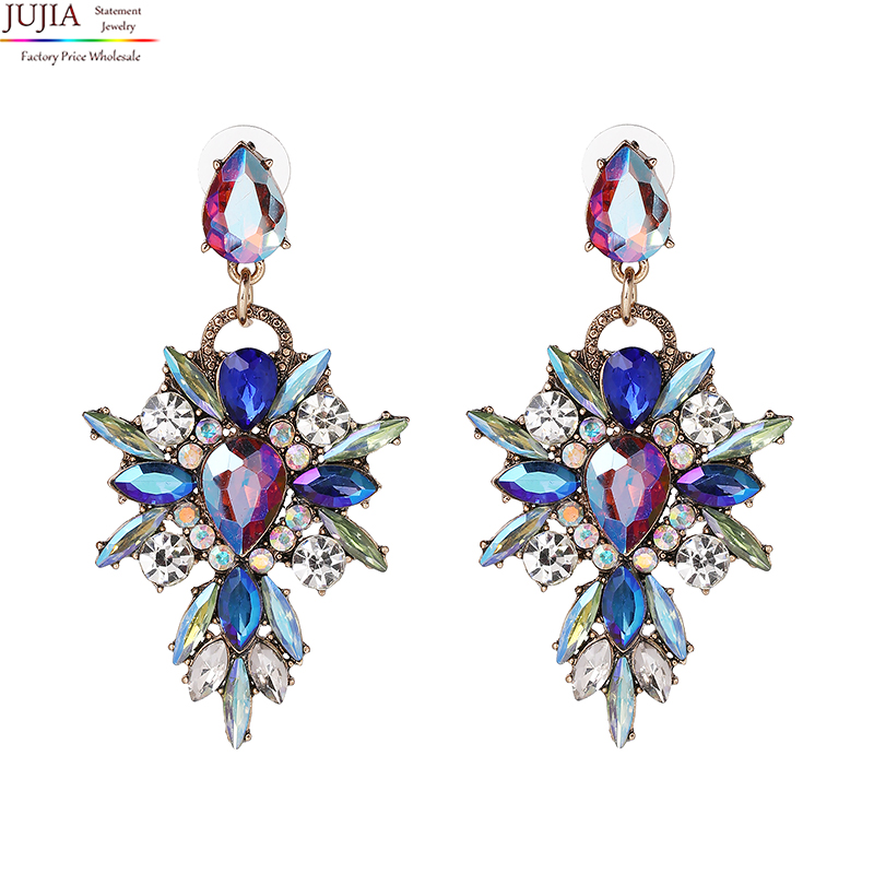 5 colors JUJIA 2019 New arrival Hot Earring good quality Crystal not acrylic Multicolor Special Bohemia Big Earrings for Women