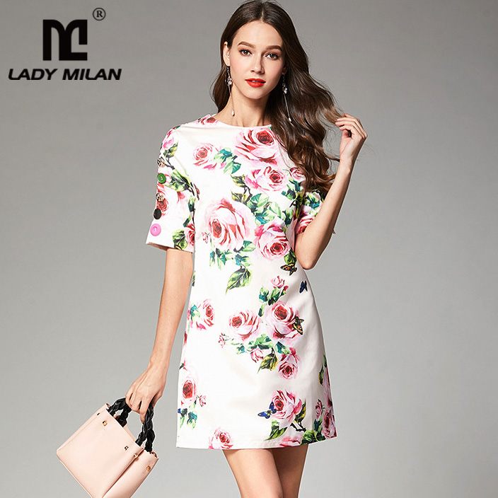 New Arrival 2018 Womens O Neck Short Sleeves Floral Printed High Street Fashion Short Dresses