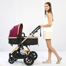 2017 New Baby Stroller High Landscape Widen Seat Shockproof Baby Car Aluminum Can Sit Lying Folding