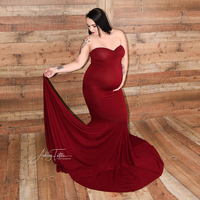 DON&JUDY Stretch Cotton Boob Tube top Maternity Photography Dress Maternity Gown Baby shower Gift Red Pink Photo Shoot