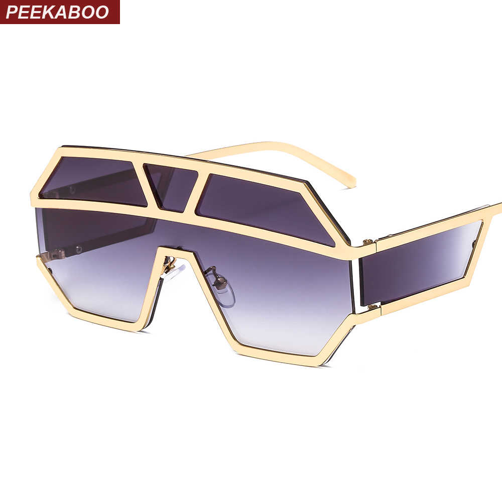 5cdfb52cb01 Peekaboo one lens sunglasses with side shields 2019 gold black women sun glasses  male big frame