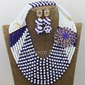 Azul real Blanco Africano Nigeriano Granos Cristalinos de La Joyería de Las Mujeres de La Boda Nigeriano Perlas Africanas Set Envío Gratuito WB970