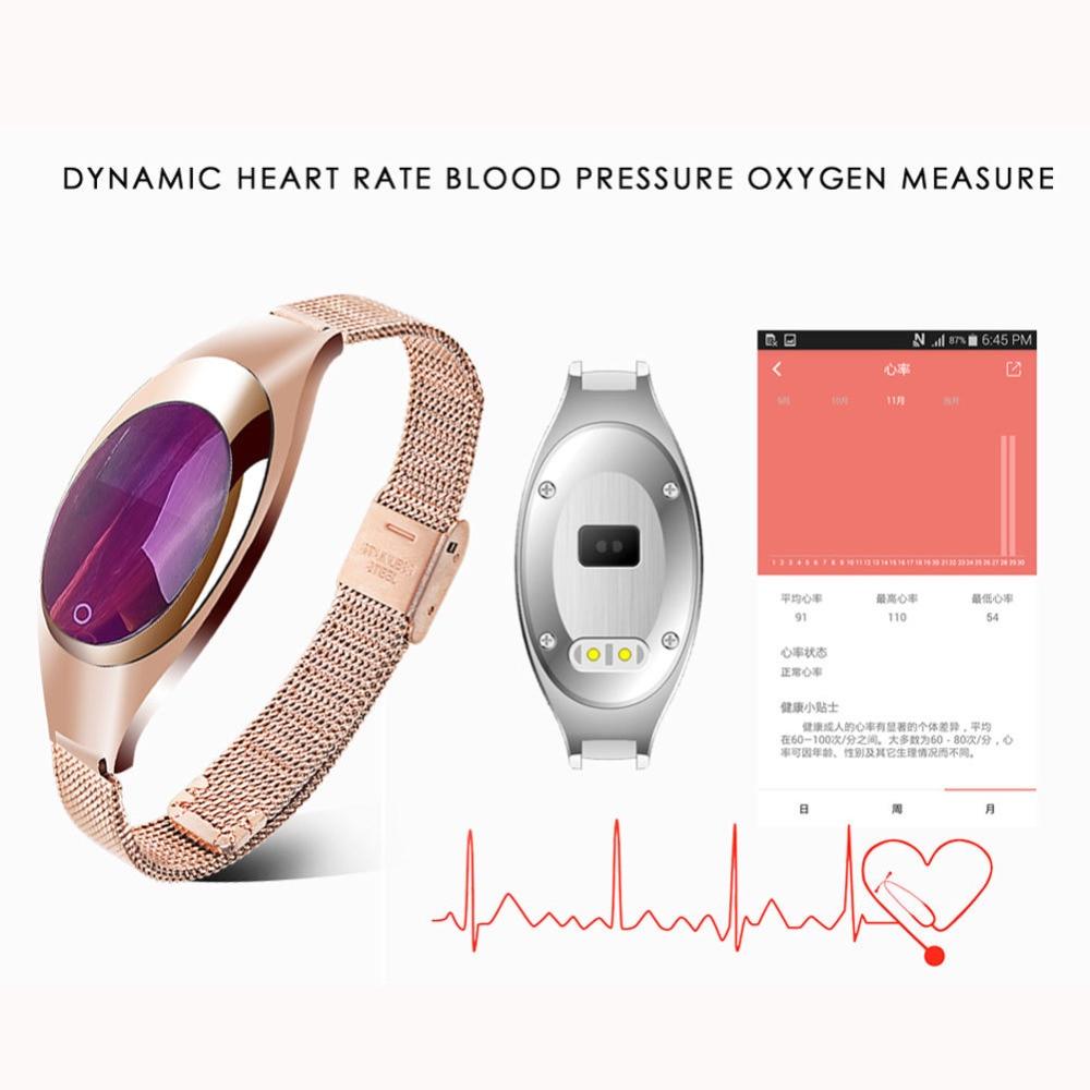 imágenes para Venta caliente Z18 Heart Rate Monitor de Presión Arterial de Muñeca Watc Inteligente banda Android Ios Reloj Mujeres de Lujo PK Regalo xiaomi mi banda 2