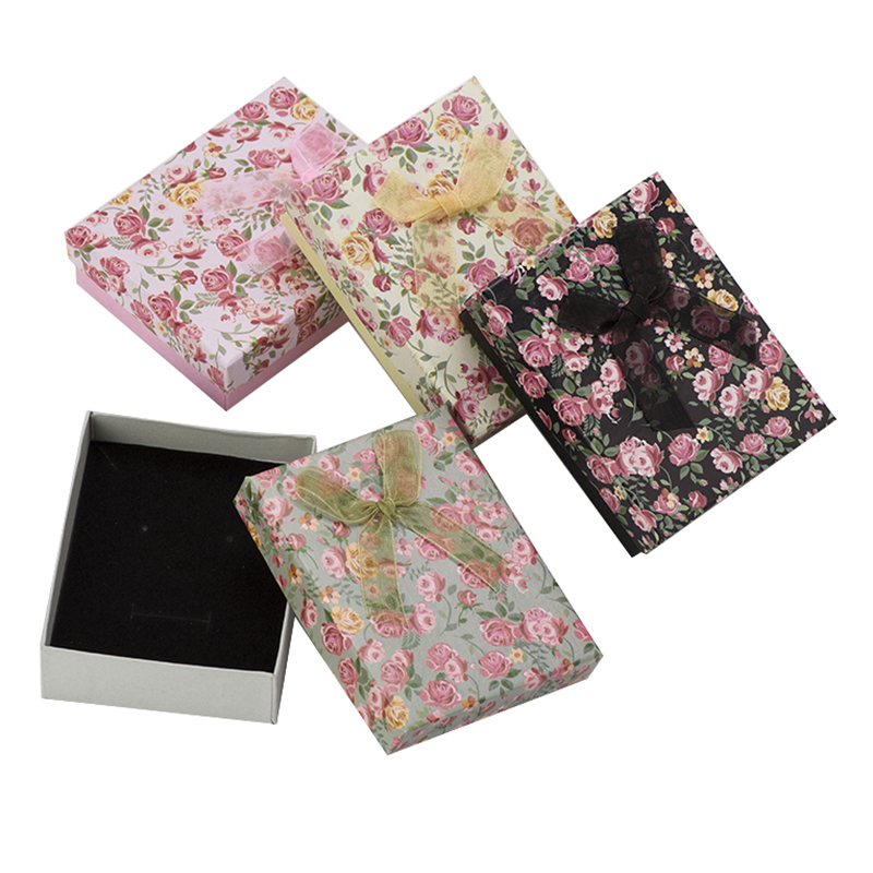 24pcs Flower Jewelry Box 7x9x3cm Multi Colors Paper Packaging Gift Box for Jewelry Sets Display Necklace Earrings Ring Box