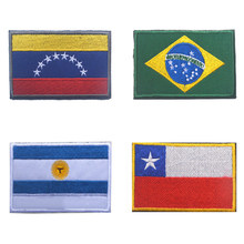 Venezuela Argentina Chile Brazil Flag Patch Backpack Bag Jacket Armband Badge Special Patch for Clothes Hook and Loop Sticker(China)