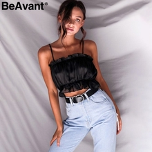 BeAvant Elegant stain short tops tees camis Ruffles strap sexy summer crop tops Women casual beach tops shirts camisole 2018 new