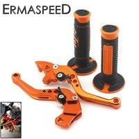 Orange CNC Aluminum Brake Clutch Levers Short Adjustable Rubber Hand Grips For KTM DUKE 125 200