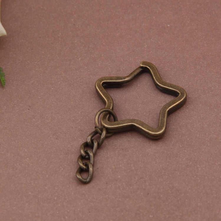 10 pcs Chave da Cadeia de Anel de Bronze Antigo Coração Da Flor Da Estrela Banhado 35mm Rodada Dividir chaveiro de metal Chaveiro DIY chaveiros Atacado