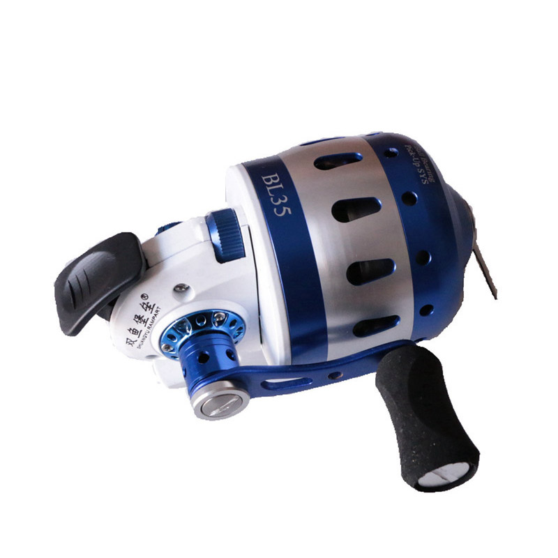 BL35 Fishing Reel 6+1 BB for Compound Bow Slingshot Shooting Fish Closed Metal Wheel Outdoor with wristband 5#PE line 55M